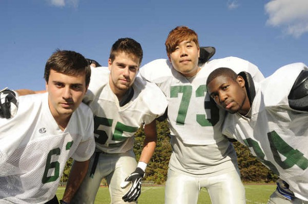 Hebron Academy's international football players are Aitor Errondosoro from Spain (from left), Methieu Rioux-Paquette from Canada, Simon Park from South Korea, and Jeff Turcotte from Lewiston, Maine.