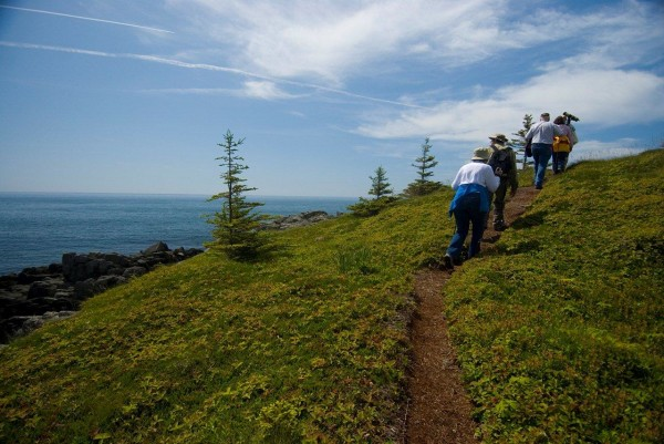 A group hikes at Maine Coast Heritage Trust's Hamilton Cove Preserve in Lubec. The Maine Outdoor Coalition is encouraging people to take a trip Down East and enjoy places like this preserve during the second Great Maine Outdoor Weekend, Sept. 28-30, 2012. More than 15 outdoor activities have been planned in Hancock and Washington counties for the weekend.