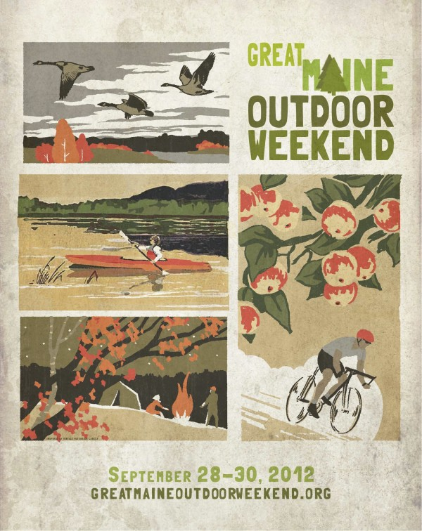 The poster was designed by Peter Selmayr of L.L. Bean for the second Great Maine Outdoor Weekend, a collaboration of numerous businesses and organizations to provide 80 low-cost outdoor events statewide.