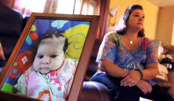 Nicole Greenaway of Clinton talks about a letter she received from the Maine Department of Health and Human Services stating that her 3-month-old daughter, Brooklyn Foss-Greenaway (pictured at left), died as a result of neglect by the mother of a 10-year-old girl charged with her death.