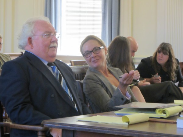 Defense attorney Daniel Lilley (left) represented Mark W. Strong Sr. at Friday's hearing in York County Superior Court.