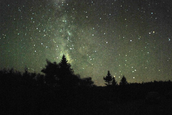 On clear nights, the cloudy band of the Milky Way spans the night sky, photographed here from Cadillac Mountain during the Acadia Acadia Night Sky Festival on Sept. 15, 2012.