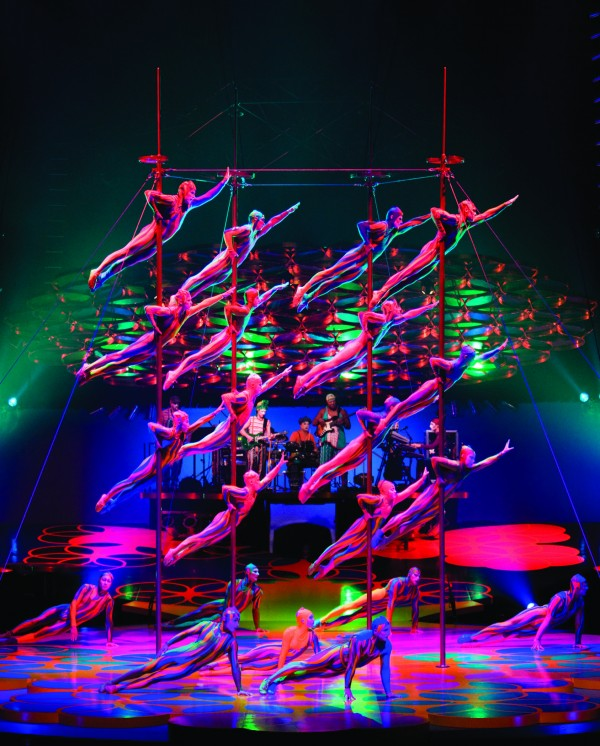 The Chinese Poles Act as part of Cirque du Soleil's traveling Saltimbanco show. Costumes in this promotional image were developed by Dominique Lemieux. When Saltimbanco is performed next month at the Cumberland County Civic Center, it will be the first time the world famous Cirque du Soleil comes to Maine.
