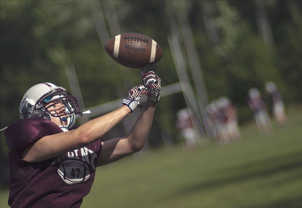 Mattanawcook Academy football player Eric Belenger at practice in Lincoln, Wednesday, Aug. 29, 2012.