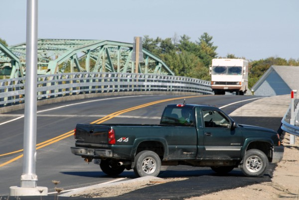 The Piscataquis River bridge in Howland was busy with traffic on Tuesday, Sept. 25, 2012. Area snowmobilers and ATV riders hope to use it soon.