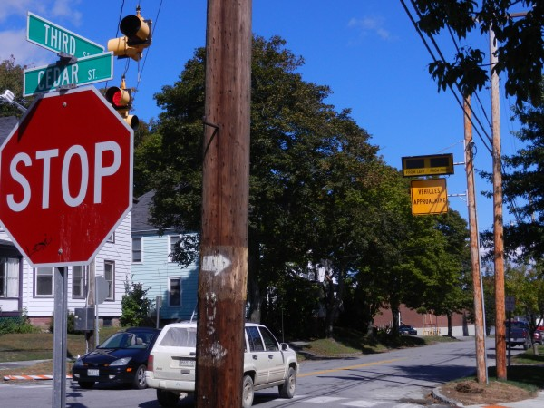 The intersection of Third and Cedar streets in Bangor has one of the highest incident rates of crashes, although usually minor, in the state, according to Maine Department of Transportation and Bangor city officials. A new, $25,000 radar-activated warning system was installed last week to warn motorists of approaching traffic.
