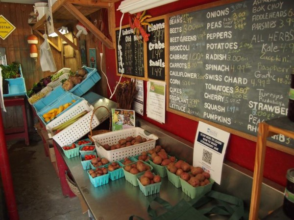 Fruits and vegetables are displayed inside the farm stand at Alewive's Brook Farm, 83 Old Ocean House Road in Cape Elizabeth.