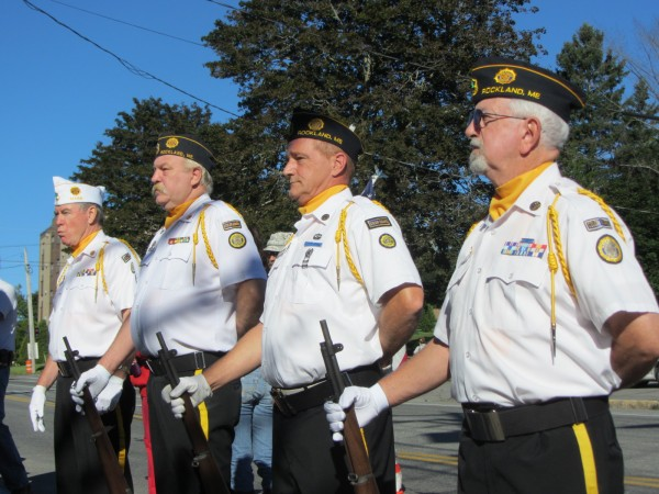 Members of the Winslow-Holbrook-Merritt post of the American Legion in Rockland prepare for a three-volley rifle salute at the memorial ceremony held Tuesday morning at the Rockland Fire Station to mark the 11th anniversary of the 9-11 attacks.