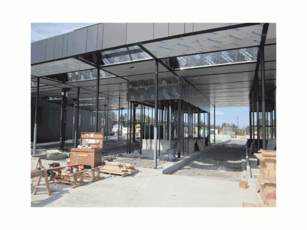 Hybrid booth at primary inspection canopy at new port of entry under construction in Van Buren.