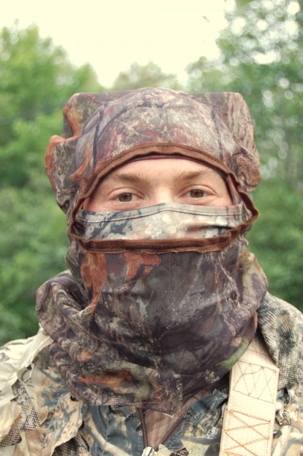 Bow hunter Louis Doyon of Lewiston was decked out in full camouflage Wednesday as he headed out to hunt black bear as one of five veterans being hosted this week without charge at the North Country Adventures camp in Deblois, Maine.