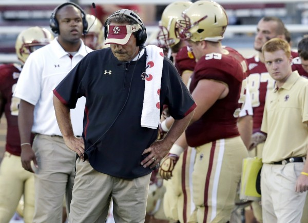 Boston College head coach Frank Spaziani reacts late in the fourth quarter during a college football game against Miami at Alumni Stadium in Chestnut Hill, Mass., last Saturday. Miami won 41-32. BC will be looking for its first win when it hosts the Maine Black Bears at 1 p.m. Saturday.