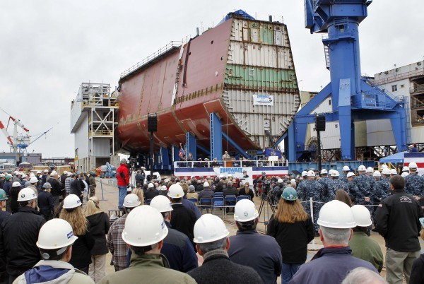 Bath Iron Works holds a keel laying ceremony to mark the completion of the first completed hull segment of the future USS Zumwalt in Bath in November 2011.