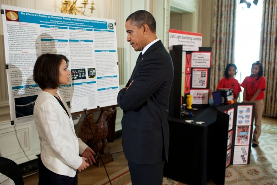 Samantha Garvey of Brentwood, N.Y. speaks with President Obama during the White House Science Fair this past February. Garvey, who lived with her family in a homeless shelter in January of this year, recently completed an internship at Mount Desert Island Biological Laboratory in Bar Harbor and started her freshman year at Bowdoin College in Brunswick.