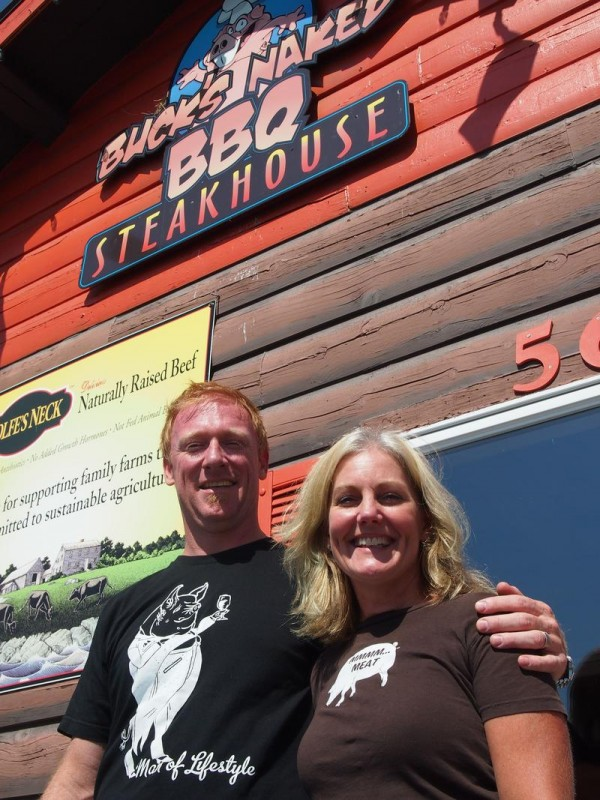 Wendy and Alex Caisse, owners of Buck's Naked BBQ, at their Freeport restaurant on Friday. The Caisses, who have another restaurant in Windham, plan to open a third establishment in Portland's Old Port in November.