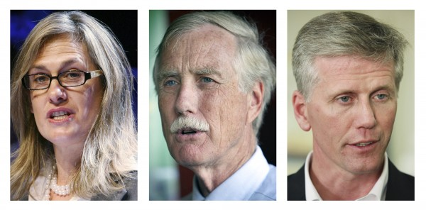 These 2012 photos show Maine candidates for U.S. Senate in the November 2012 general election, Democrat Cynthia Dill (from left), Independent Angus King and Republican Charlie Summers.