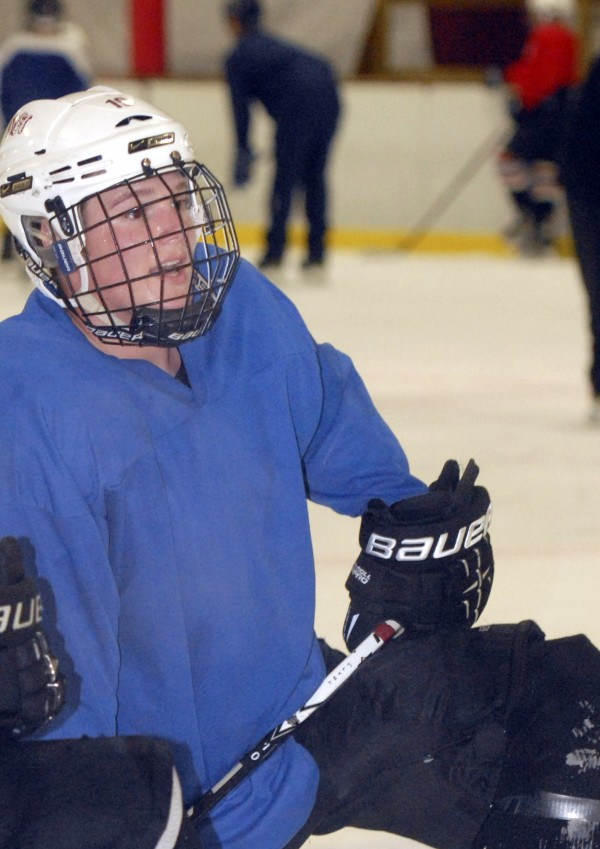 Owen Trundy takes a break between pratice sessions at Penobscot Ice Arena in Brewer on Thursday, Sept. 20, 2012.