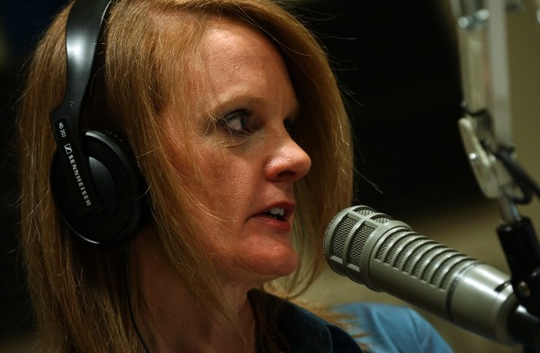 Deb Neuman tapes her show at the WVOM studios in Bangor in 2007.