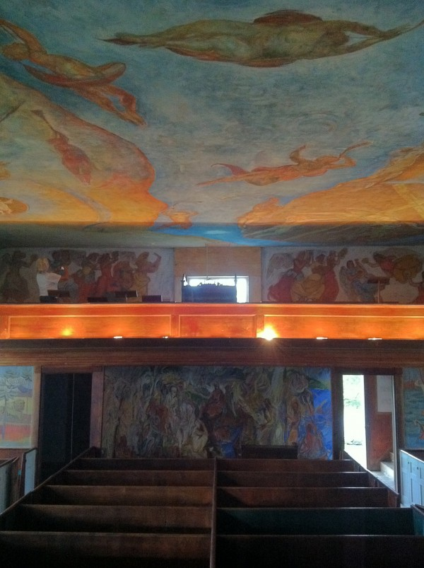 The interior of the South Solon Meetinghouse was elaborately painted in the 1950s by 13 artists from the Skowhegan School of Painting and Sculpture.