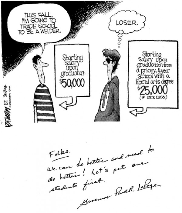 Gov. Paul LePage sent copies of this cartoon to Maine school principals.