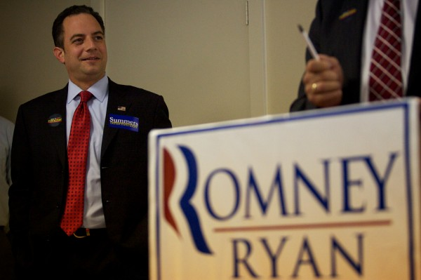 Republican National Committee Chairman Reince Priebus is introduced by Maine GOP Chairman Charlie Webster Friday, Sept. 28, 2012, at the Republican Victory Center in Westbrook.