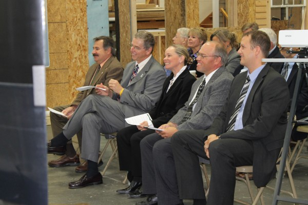 State, local and economic development officials attended the commissioning of a new biomass boiler at Northern Maine Community College in Presque Isle on Wednesday, Sept. 19, 2012. Robert Clark (from left), USDA Forest Service; President Timothy Crowley, Northern Maine Community College; Kris Doody, chair of the Maine Community College System Board of Trustees; Barry Ingraham, director of physical plant and technology at NMCC; and Philipp Lüscher, CEO of Schmid energy-group in Switzerland, attended the ceremony.
