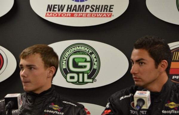 Brett Moffitt (left) and Sergio Pena speak to the media after claiming the front row in NASCAR K&N Pro Series East qualifying at New Hampshire Motor Speedway in Loudon, N.H. on Friday, Sept. 21, 2012. Moffitt and Pena are teammates at Hattori Racing Enterprises, where former four-time series champion Andy Santerre is the general manager.
