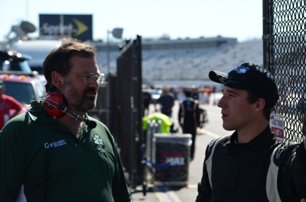 Fort Kent teenager Austin Theriault (right) talks with crew chief Todd Graffam of Saco after laying down the 23rd fastest lap in K&N Pro Series East qualifying at New Hampshire Motor Speedway in Loudon, N.H., on Friday, Sept. 21, 2012.
