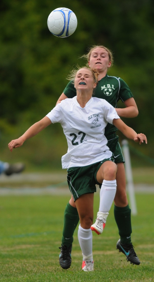 MDI's Leah Kelly and Old Town's Rachel Martin vie for the ball Monday at Old Town. Old Town won 1-0.