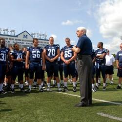 University of Maine President Paul Ferguson speaks to the Maine Blackbears football team Alfond Stadium during Media Day in August 2012.