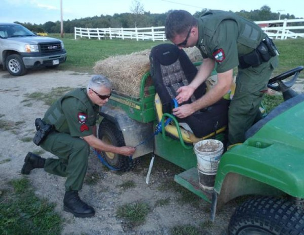 Wardens investigate an ATV accident in which a 1-year-old girl was injured Friday, Sept. 7, 2012.