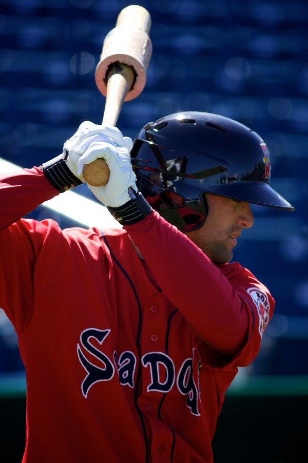 Bryce Brentz of the Portland Sea Dogs warms up before taking batting practice at Hadlock Field in Portland in April. Brentz, who was named the team's MVP, hit .296 with a team-leading 76 runs batted in and 30 doubles. He was second in homers with 17.