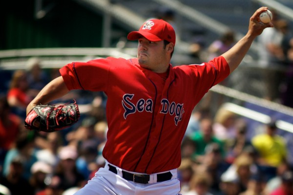 Chris Hernandez of the Portland Sea Dogs delivers a pitch during a game in May at Hadlock Field in Portland. Hernandez, who was named the team's pitcher of the year, had a team-low 3.13 earned-run average when he was called up to Pawtucket. He was an Eastern League All-Star.