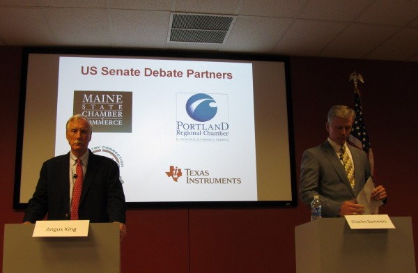 Independent former Maine Gov. Angus King (left) and current Republican Secretary of State Charlie Summers, both candidates for the U.S. Senate seat being vacated by Olympia Snowe, prepare to field questions at a debate Wednesday, Sept. 12, 2012, hosted by Texas Instruments in South Portland. King and Summers have been in first and second places, respectively, in all the polling done on the race thus far. Democratic candidate Cynthia Dill did not attend the debate.