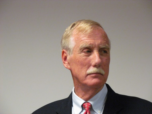 Independent U.S. Senate candidate and former Maine Gov. Angus King takes part in a debate Wednesday, Sept. 12, 2012, hosted at Texas Instruments in South Portland and sponsored in part by the Maine State Chamber of Commerce.