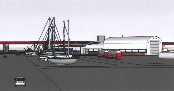 A draft image distributed to the Portland Planning Board by DeLuca-Hoffman Associates Inc. shows a proposed boat maintainence and repair yard and its proximity to the Casco Bay Bridge, as well as West Commercial Street at left.