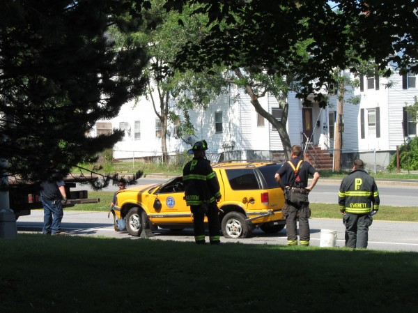 A Portland city utility vehicle was totaled Wednesday afternoon, Sept. 12, 2012, when a taxi crashed into it on Franklin Arterial.