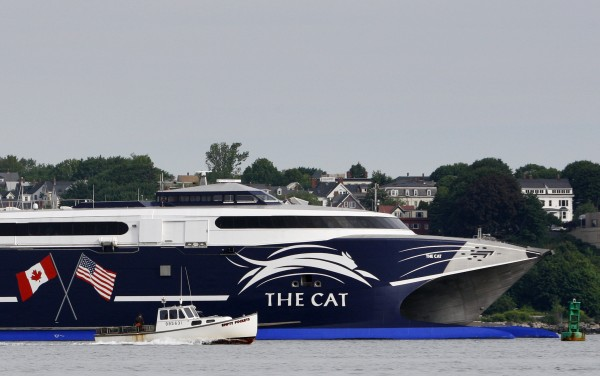 The high-speed Cat ferry leaves Portland Harbor in June 2009, bound for Yarmouth, Nova Scotia.