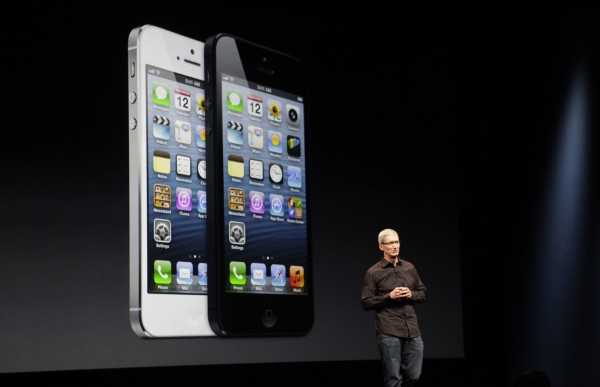 Apple CEO Tim Cook introduces the new iPhone 5 during a product unveiling at the Yerba Buena Center for the Arts in San Francisco, California on Wednesday, Sept. 12, 2012.