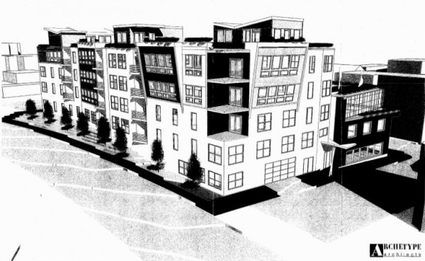 This image distributed to the Portland City Council depicts a 60-foot-tall mixed-use building proposed for the India Street neighborhood.