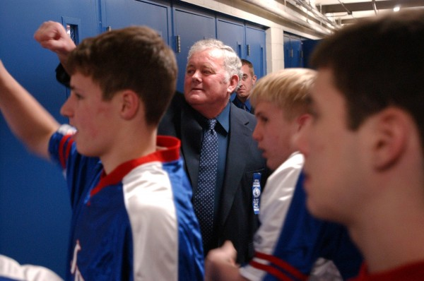 Longtime Jonesport-Beals boys basketball coach Ordie Alley gets ready to lead his team onto the Bangor Auditorium floor for their Eastern Maine Class D quarterfinal against Lee Academy on Feb. 25, 2005. Alley will be inducted into the University of Maine-Machias Athletics Hall of Fame Saturday.
