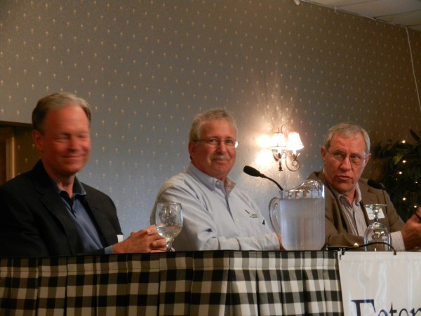 Maine paper mill executives (left to right) Keith Van Scotter, CEO of Lincoln Paper and Tissue; Bill Cohen, director of communications at Verso Mill in Bucksport; and George McLaughlin, manager of manufacturing for Great Northern Paper in East Millinocket talked about challenges and future prospects for the industry at the Bangor Region Chamber of Commerce Early Bird Breakfast in Bangor on Wednesday morning, Sept. 26, 2012.