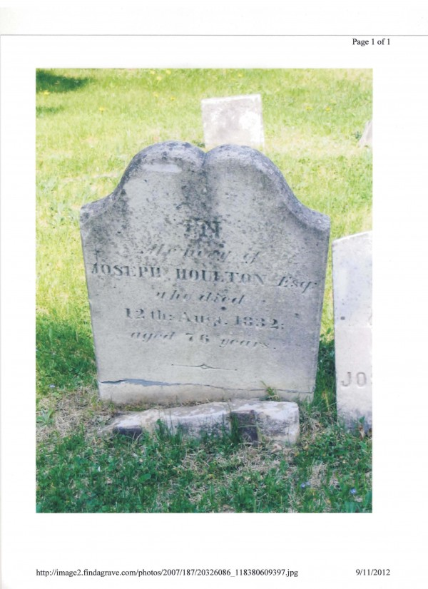 This is the gravestone of Joseph Houlton, who founded the town bearing his name in 1807. The marker was stolen between Sept. 4 and Sept. 7. The marker weighs 70 pounds. Police have no suspects.