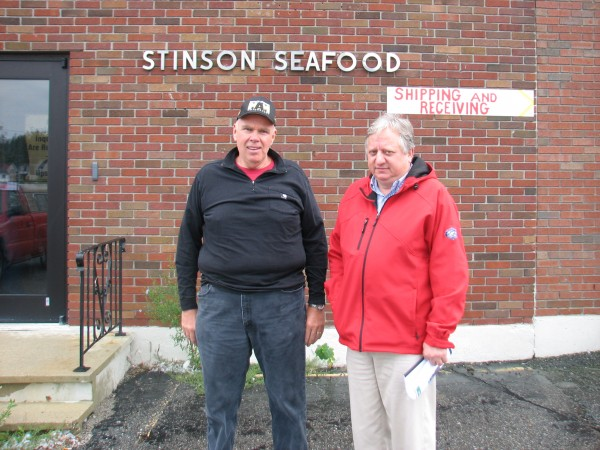 David Garbo (left) and Michael Tourkistas pose Wednesday, Sept. 26, 2012, outside the former Stinson Seafood plant in the Gouldsboro village of Prospect Harbor. The companies run by the two men, Garbo Lobster and East Coast Seafood, teamed up to come up with the winning bid of $900,000 for the plant, which was sold Wednesday in a foreclosure auction ordered by TD Bank. TD Bank foreclosed on the property after it determined that Live Lobster, which bought the plant in 2010 from Bumble Bee Foods, had not lived up to the terms of a loan agreement established between the bank and Live Lobster in 2008.