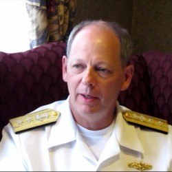 Rear Adm. William Leigher, an Appleton native and University of Southern Maine graduate, discusses the future of the Navy during a interview Wednesday, Sept. 26, 2012, at his hotel in South Portland. Leigher returned to Maine as part of the Navy's 50-city outreach tour.
