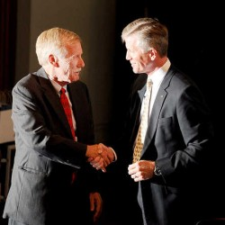 Independent Angus King (left) and Republican Charlie Summers shake hands following the debate at the Franco-American Heritage Center in Lewiston on Monday, Sept. 17, 2012.