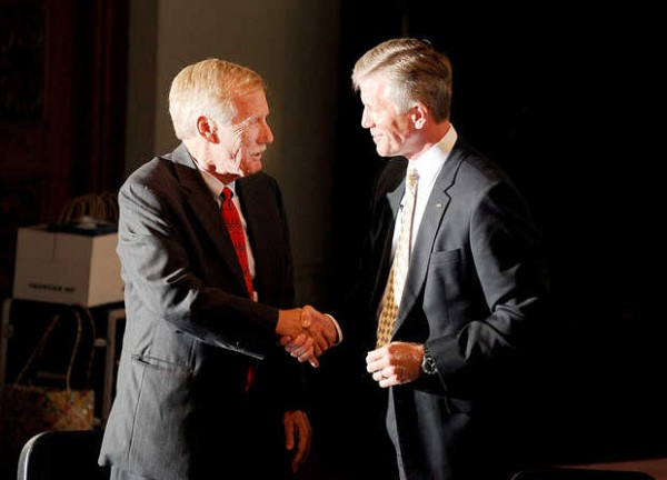 Independent Angus King and Republican Charlie Summers shake hands following the debate at the Franco-American Heritage Center in Lewiston on Monday, Sept. 17, 2012.