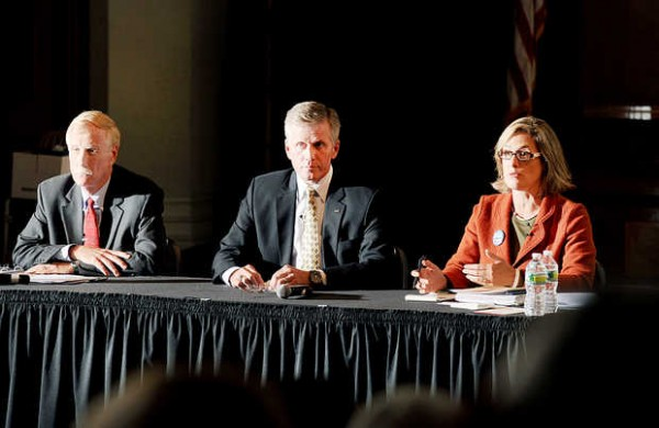 Independent Angus King (left) Republican Charlie Summers and Democrat Cynthia Dill participate in a debate for Maine's open U.S. Senate seat at the Franco-American Heritage Center in Lewiston on Monday, Sept. 17, 2012.