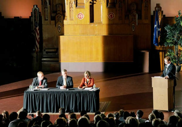 Moderator Michael Malloy (right) asks three candidates for Olympia Snowe's U.S. Senate seat a question during a debate at the Franco-American Heritage Center in Lewiston on Monday, Sept. 17, 2012. Seated from left are: Independent Angus King, Republican Charlie Summers and Democrat Cynthia Dill.
