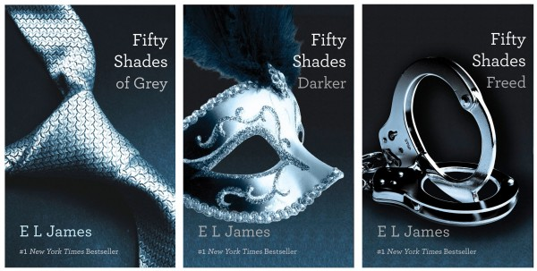 This file combo made of book cover images provided by Vintage Books shows the &quotFifty Shades of Grey&quot trilogy by best-selling author E L James.