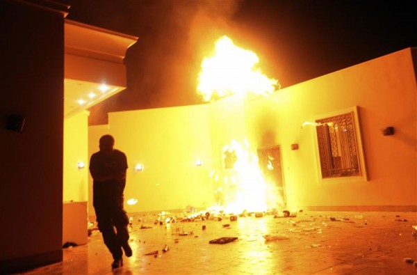 he U.S. Consulate in Benghazi is seen in flames during a protest by an armed group said to have been protesting a film being produced in the United States September 11, 2012. An American staff member of the U.S. consulate in the eastern Libyan city of Benghazi has died following fierce clashes at the compound, Libyan security sources said on Wednesday.